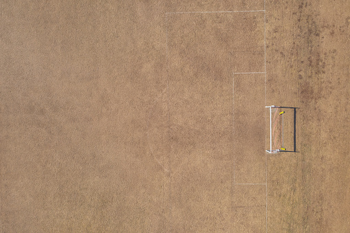 Goal Post「Aerial view of goal post on dry soccer field in summer during drought」:スマホ壁紙(3)