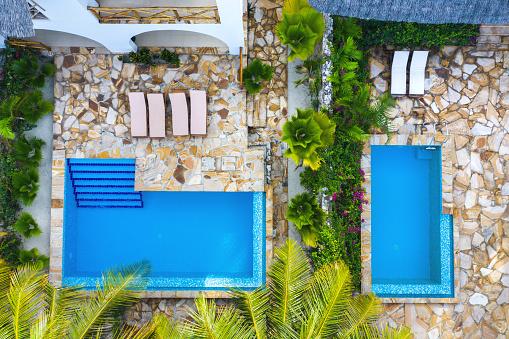 Deck Chair「Aerial View On Luxury Bungalows In Zanzibar」:スマホ壁紙(3)