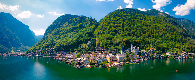 Dachstein Mountains「Aerial view of Hallstatt, Austria」:スマホ壁紙(16)