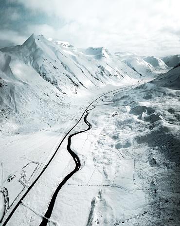 Empty Road「aerial view of a snowed road in westfjord - iceland」:スマホ壁紙(2)
