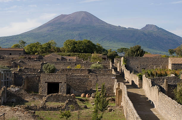 Aerial view of Pompeii with Mount Vesuvius in the background:スマホ壁紙(壁紙.com)