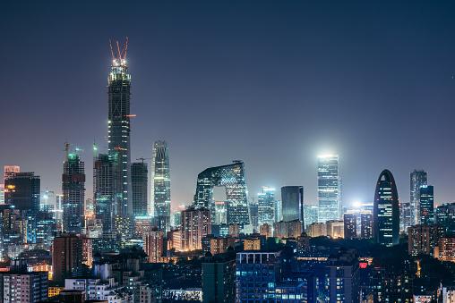 Beijing「Aerial View of Beijing Skyline at Night」:スマホ壁紙(8)