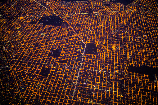 Buenos Aires「Aerial view of Buenos Aires at night, Argentina」:スマホ壁紙(1)