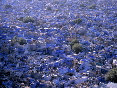 Jodhpur「Aerial view of Blue City cityscape, Jodhpur, Rajasthan, India」:スマホ壁紙(8)
