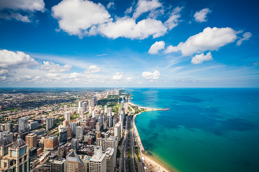 Great Lakes「Aerial view of Chicago cityscape and Lake Michigan」:スマホ壁紙(0)