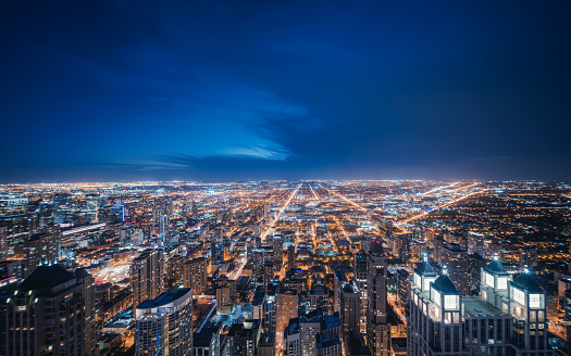 Cryptocurrency「Aerial View of Chicago cityscape skyline at Night」:スマホ壁紙(2)