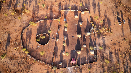 Archaeology「Aerial view of Txitundo Hulo, village Kimbos, surrounded by village fence, in Angola」:スマホ壁紙(13)