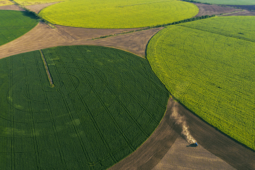 Real Life「Aerial view of agriculture field in shape of circles」:スマホ壁紙(9)