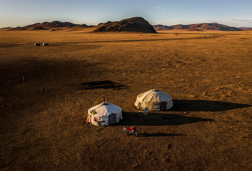 Motorcycle「Aerial view of nomadic  village in Gobi desert at sunset」:スマホ壁紙(1)