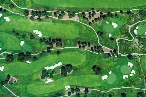 Sand Trap「Aerial view of suburbian housing and golf courses」:スマホ壁紙(2)