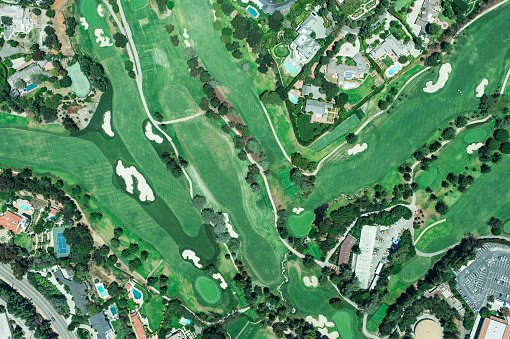 Sand Trap「Aerial view of suburbian housing and golf courses」:スマホ壁紙(4)
