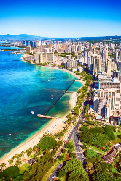 空から見たホノルル、ハワイの:スマホ壁紙(壁紙.com)