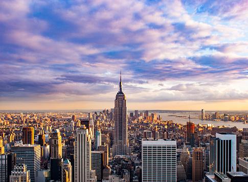 Broadway - Manhattan「Aerial view of New York City Skyline at Sunset」:スマホ壁紙(18)