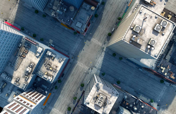 Aerial view of New York City intersection, New York, United States:スマホ壁紙(壁紙.com)