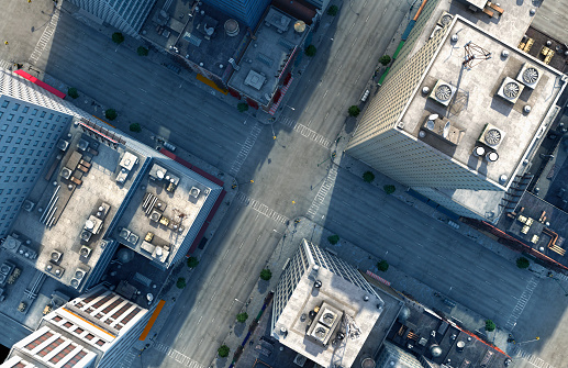 High Angle View「Aerial view of New York City intersection, New York, United States」:スマホ壁紙(3)