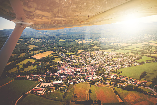 Abbey - Monastery「Aerial view of french village of Ambronay in Ain countryside with famous abbey and church in summer season」:スマホ壁紙(3)