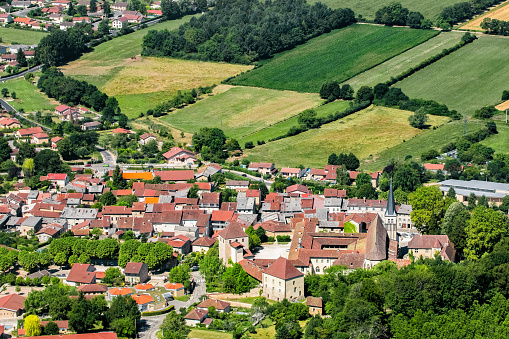 Abbey - Monastery「Aerial view of french village of Ambronay in Ain countryside with famous abbey and church in summer season」:スマホ壁紙(7)