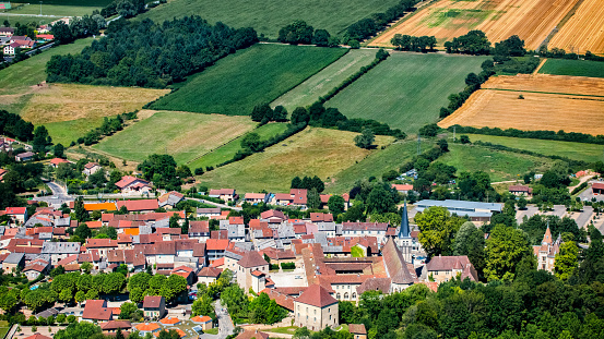 Abbey - Monastery「Aerial view of french village of Ambronay in Ain countryside with famous abbey and church in summer season」:スマホ壁紙(0)