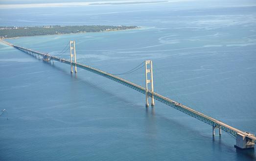 Great Lakes「Aerial View of the Mackinac Bridge, Michigan, USA」:スマホ壁紙(11)