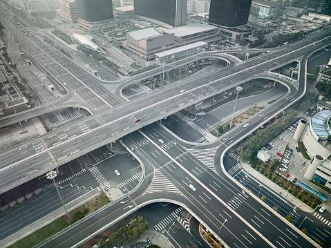 Beijing「Aerial view of complex street intersection, Beijing, China」:スマホ壁紙(16)