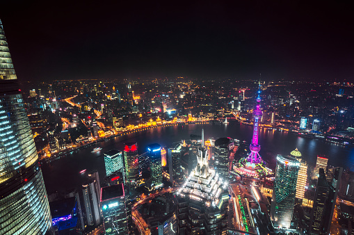 Neon「空から見た上海の夜景」:スマホ壁紙(12)