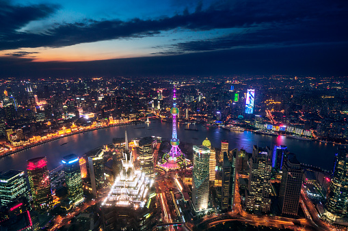 Neon「空から見た上海の夜景」:スマホ壁紙(13)