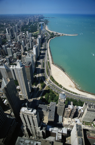Great Lakes「Aerial View of Chicago and Lake Michigan」:スマホ壁紙(17)