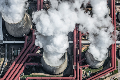 Smoke Stack「Aerial view of steaming cooling towers」:スマホ壁紙(19)