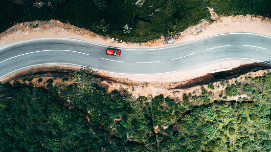South Asia「Aerial view on red car on the road near tea plantation」:スマホ壁紙(1)