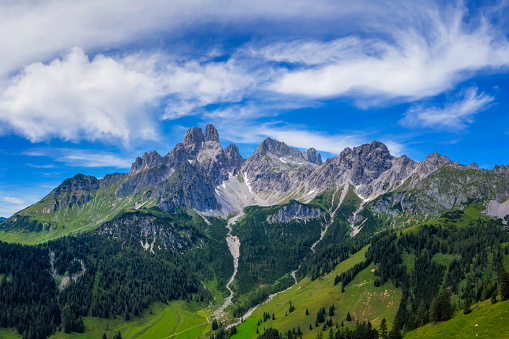 Dachstein Mountains「Aerial view in the Dachstein mountains with a view of the large bishop's hat」:スマホ壁紙(14)