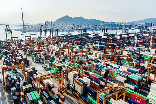 Heavy「Aerial view of colorful container terminal」:スマホ壁紙(8)