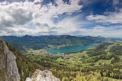 Salzkammergut「Aerial view of Fuschlsee -  lake Fuschel in Austria」:スマホ壁紙(7)