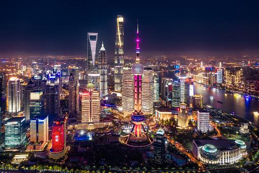 Shanghai「Aerial view of Shanghai city skyline at night」:スマホ壁紙(7)