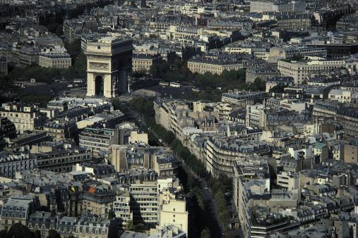 Arc de Triomphe - Paris「Aerial view of Paris , France」:スマホ壁紙(2)