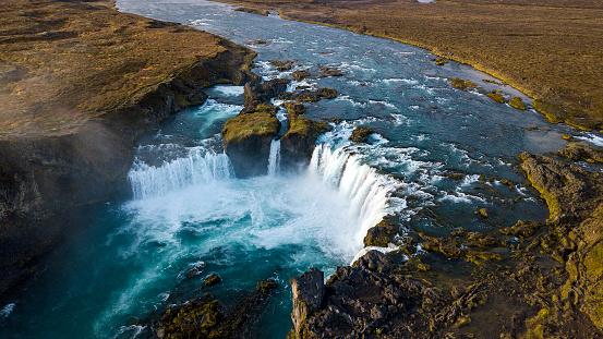 River「Aerial view of Godafoss Waterfall, Bardardalur, Iceland」:スマホ壁紙(8)