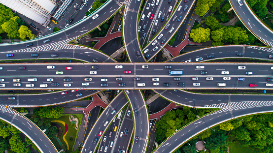 Rush Hour「Aerial view of Shanghai Highway」:スマホ壁紙(1)