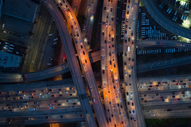 Aerial view of Los Angeles arterial roads at twilight time:スマホ壁紙(壁紙.com)