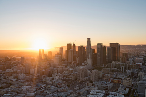 City Of Los Angeles「Aerial view of Los Angeles cityscape, California, United States」:スマホ壁紙(4)