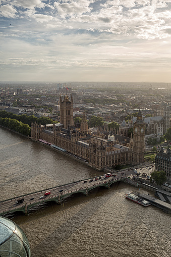 Abbey - Monastery「Aerial View of Big Ben and Parliament at Dusk on the River Thames」:スマホ壁紙(12)