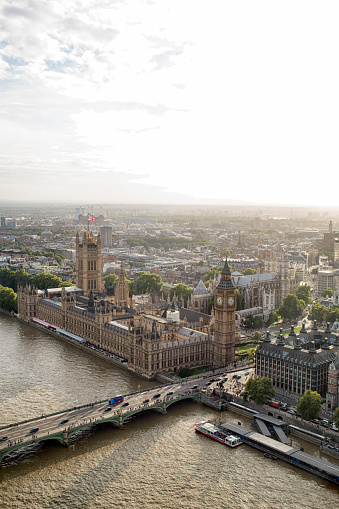 Abbey - Monastery「Aerial View of Big Ben and Parliament at Dusk on the River Thames」:スマホ壁紙(15)
