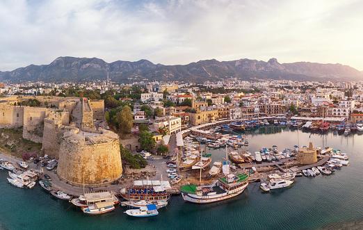 Republic Of Cyprus「Aerial View of Old Marina of Girne (Kyrenia), Cyprus」:スマホ壁紙(0)