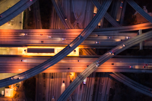 City Life「aerial view of the city overpass at dusk,LA」:スマホ壁紙(5)