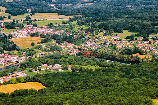 Ain - France「Aerial view of french small villages in lush foliage countryside in the end of summer season」:スマホ壁紙(17)