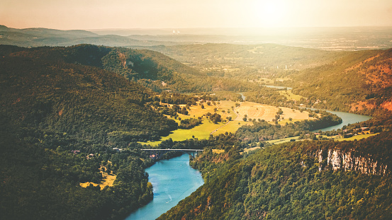 Bugey「Aerial view of wild Ain river valley at sunset in summer season」:スマホ壁紙(10)