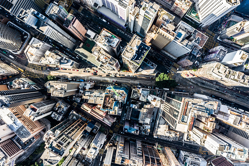 Housing Project「Aerial view of Hong Kong Downtown. Financial district and business centers in smart city in Asia. Top view of skyscraper and high-rise buildings.」:スマホ壁紙(1)