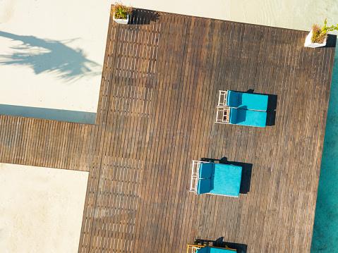 Outdoor Chair「Aerial view of pier, Canareef Resort Maldives, Herathera island, Addu atoll」:スマホ壁紙(14)