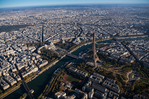 Trocadero Fountains「Aerial view of Eiffel Tower in Paris France, morning」:スマホ壁紙(1)