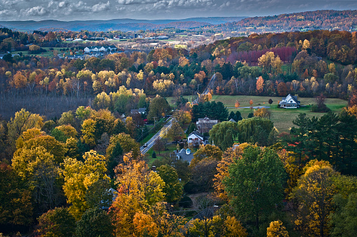 Stowe - Vermont「Aerial view of fall foliage in Vermont」:スマホ壁紙(18)