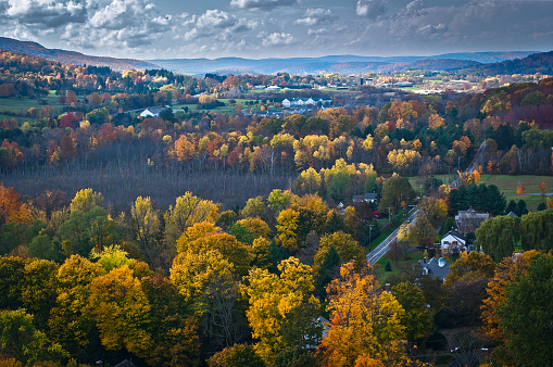Stowe - Vermont「Aerial view of fall foliage in Vermont」:スマホ壁紙(1)