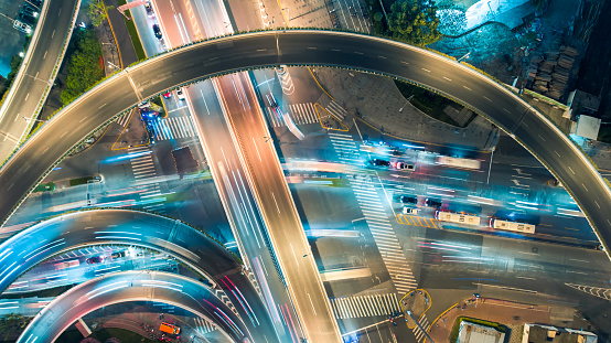 Elevated Road「Aerial view of overpass at night」:スマホ壁紙(18)